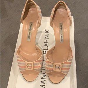 Manolo Blahnik Peep Toe D'Orsay Heel